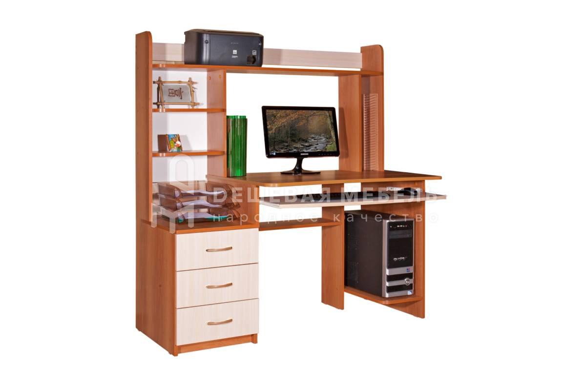 Компьютерный стол с надстройкой и шкафчиками