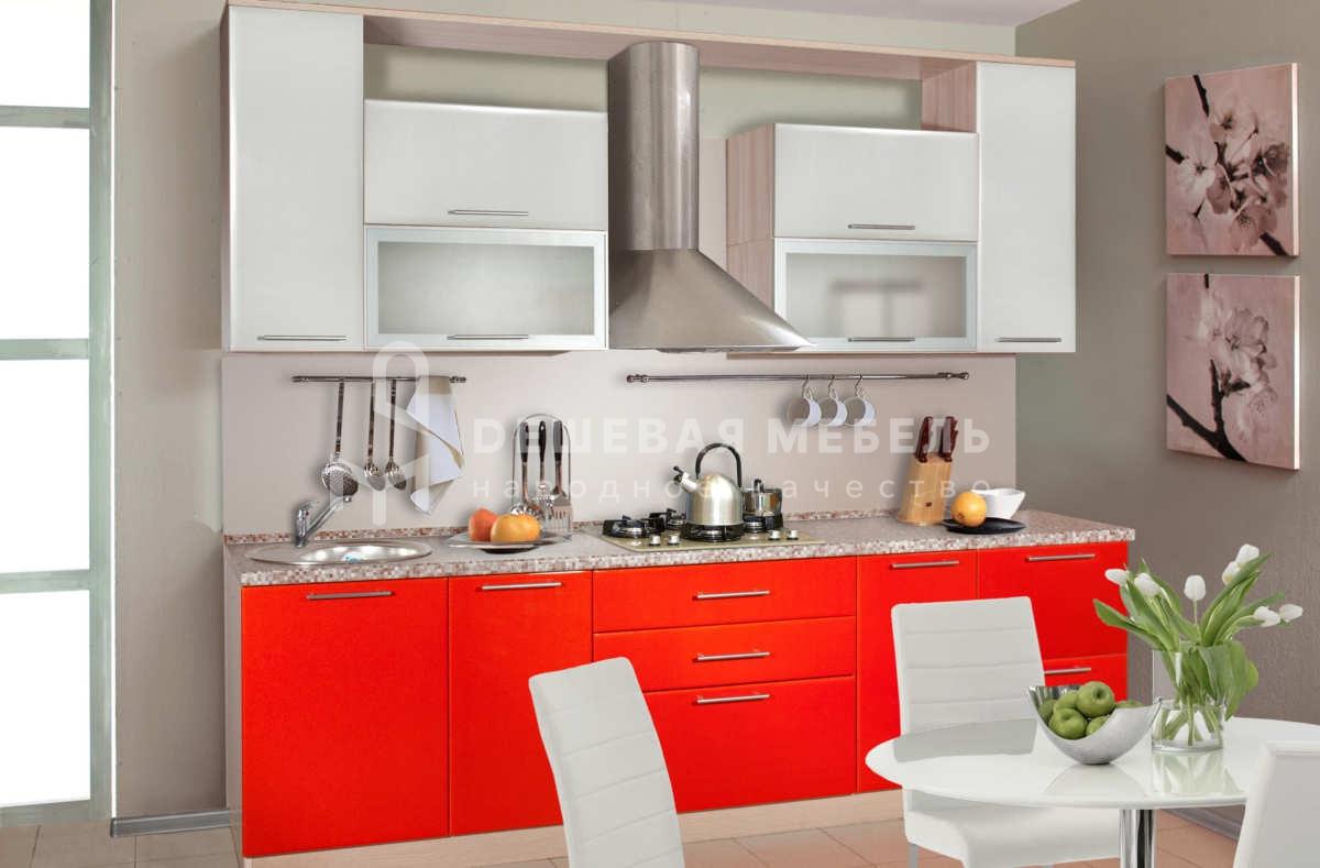 Мини кухня МДФ красная