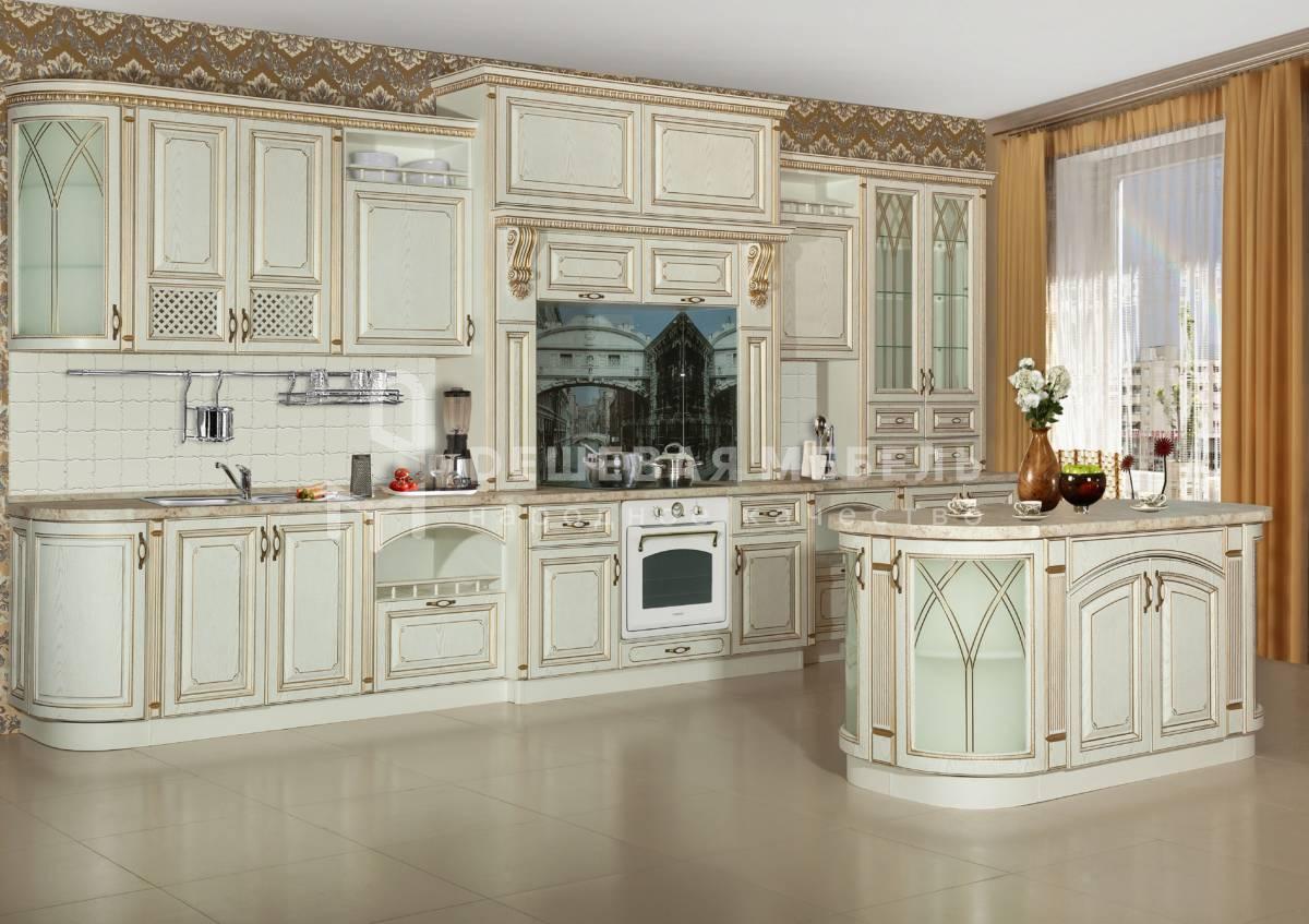 """Большая классическая кухня """"Традиция арт.4"""" с порталом и отдельным островом"""