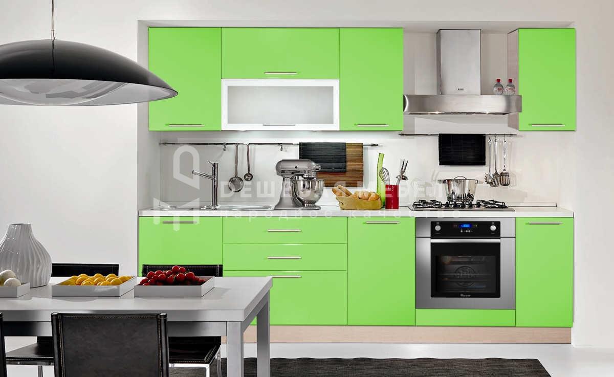 """Прямая кухня """"Стайл"""" салатового цвета"""