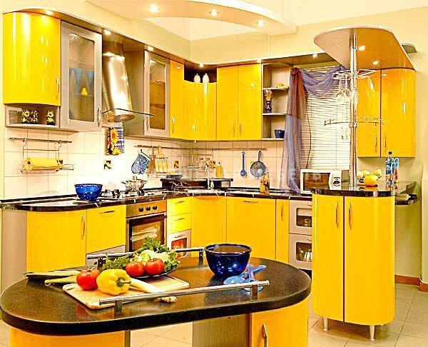 """Желтая глянцевая кухня """"Корнер арт.27"""""""