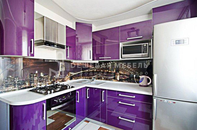 """Кухня """"Блеск арт.9"""" из эмали сиреневого цвета"""