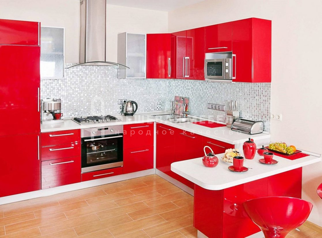 """Кухня из красной глянцевой эмали """"Выгода арт.64"""""""