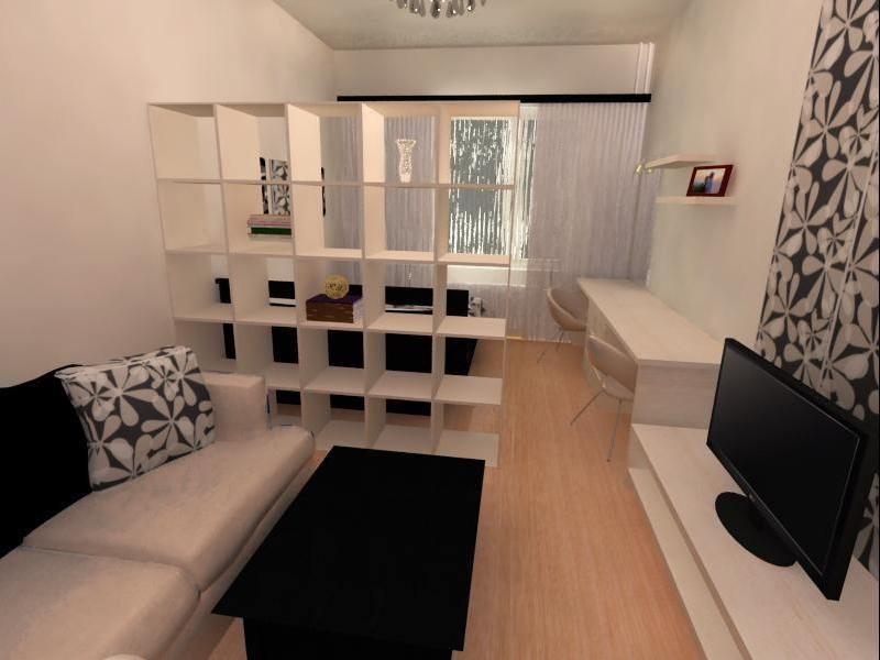 зонирование комнаты стеллажом на детскую и гостиную