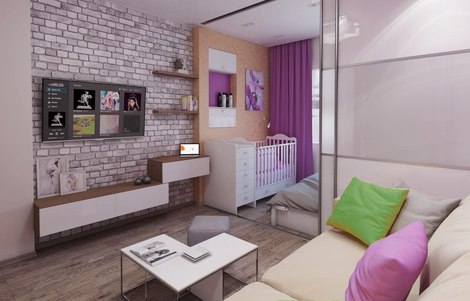 детская комната совмещенная с гостиной