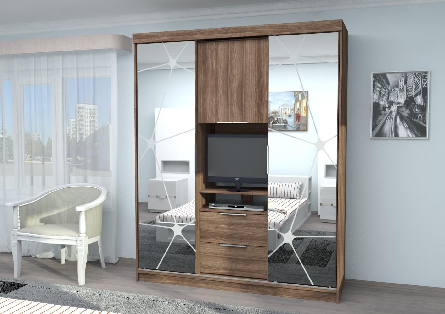 шкаф-купе с зеркалом в полный рост в гостиную