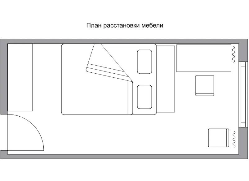 расстановка мебели в квадратной спальне